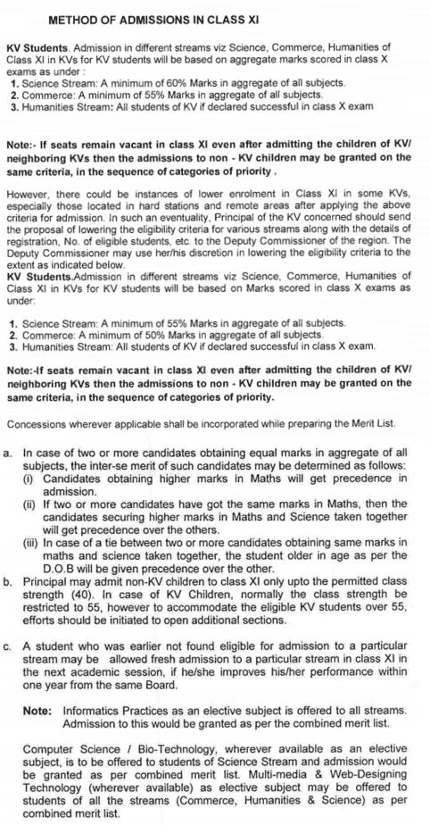 Kendriya Vidyalaya KV Admission 2019 form Eligibility Procedure