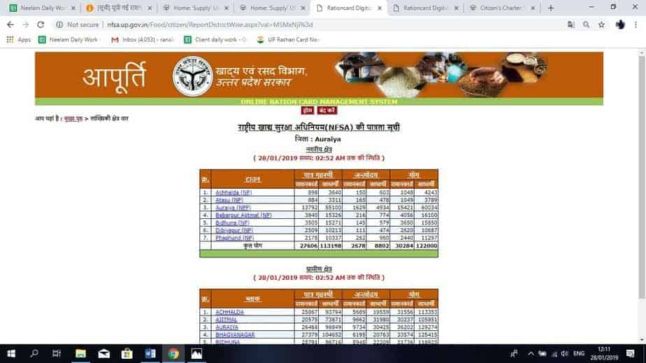 select area for UP Ration card fresh list 2019
