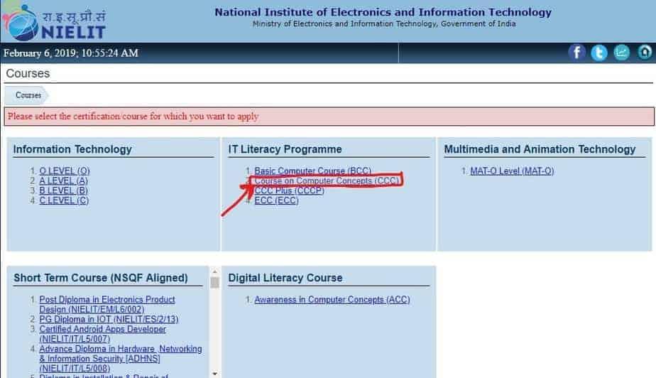 NIELIT CCC Online Course, Eligibility, Date, Registration