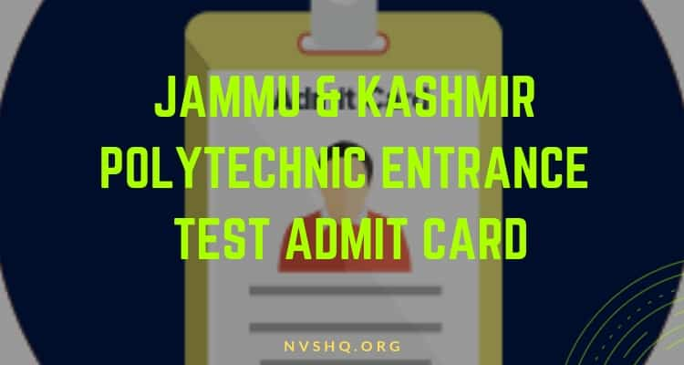 J&K Polytechnic Entrance Test admit card