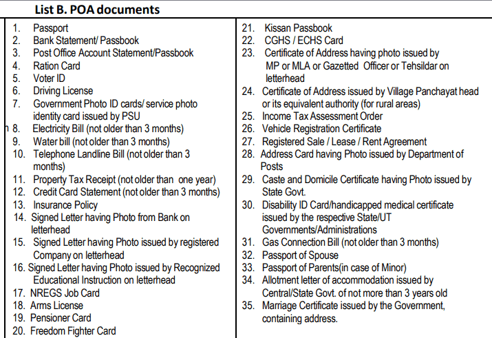 aaddhar PoA (Proof of address) documents