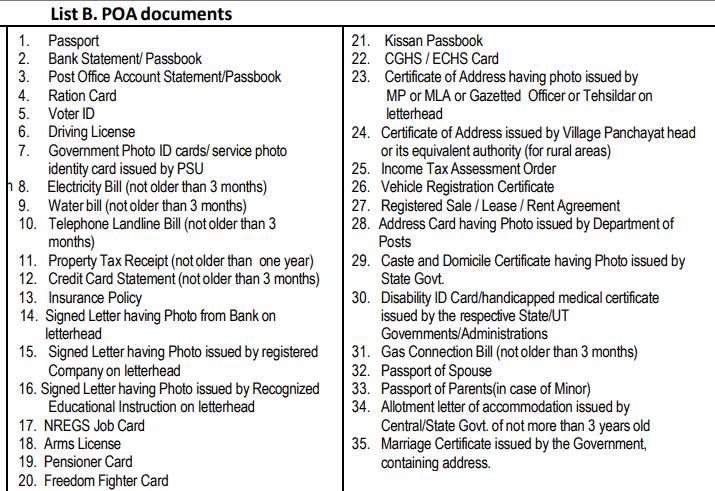 aaddhar PoA (Proof of address) documents
