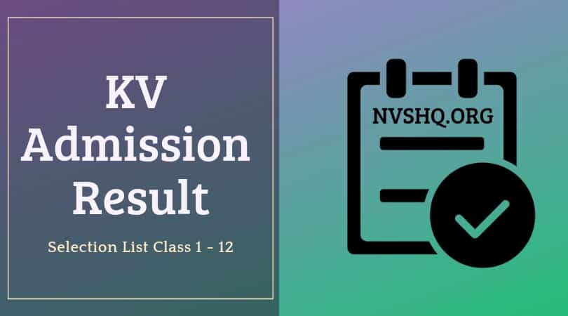 KVS Class 1 Result 2019 Selection List - 1st Provisional