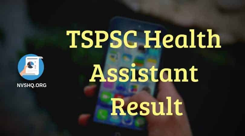 TSPSC Health Assistant Result