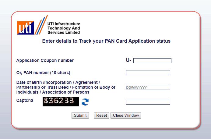 UTI pan status application number
