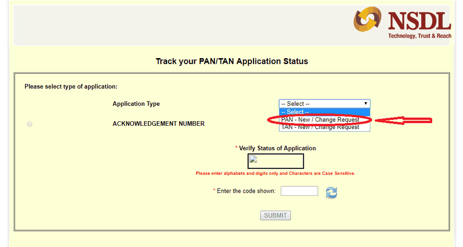 select the pan new application status