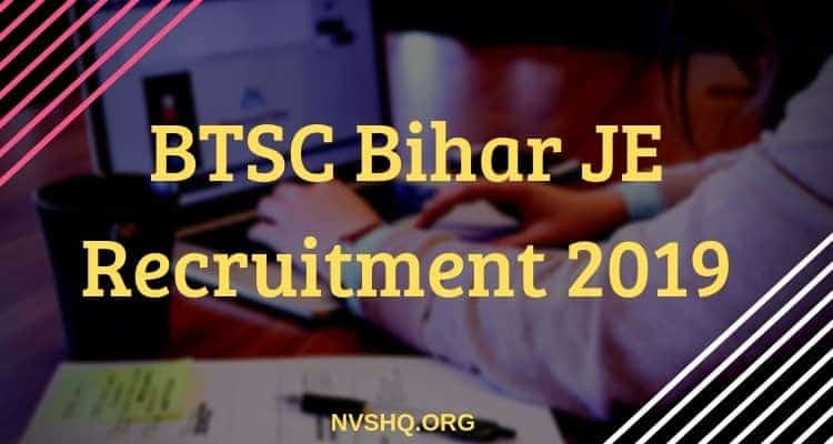 BTSC Bihar JE Recruitment 2019
