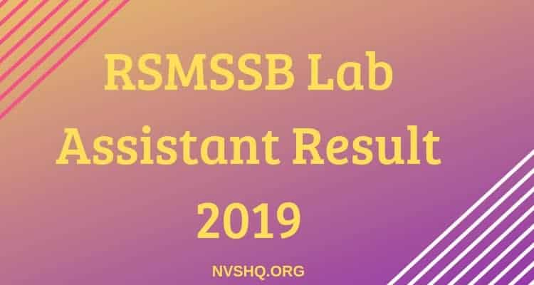 RSMSSB Lab Assistant Result 2019