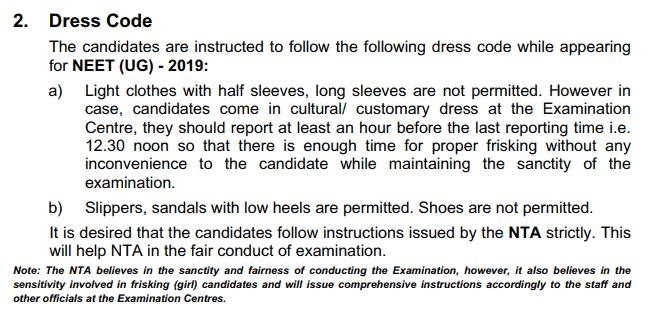neet dress code 2019