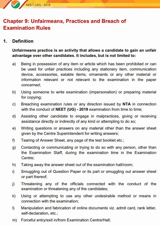 neet examination rules