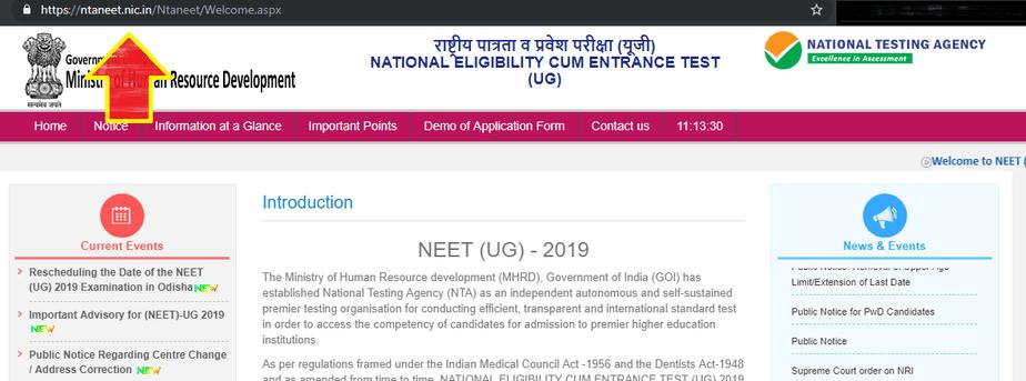 NTA NEET website 2019