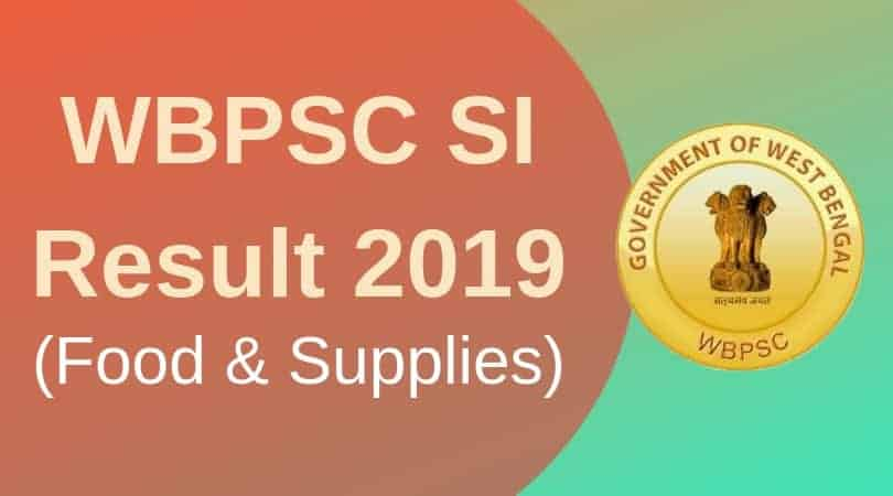 WBPSC si result 2019