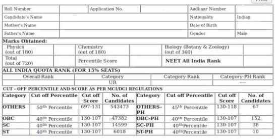 neet result sample 2019