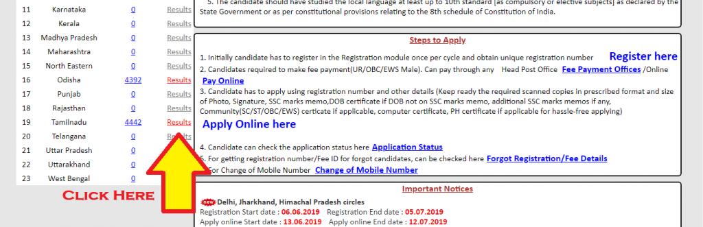 TN GDS Result 2019 Declared TN Postal Circle Merit List Cut Off