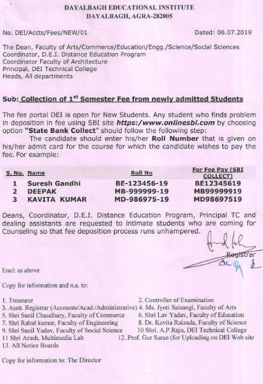 DEI 1st semester fee payment method