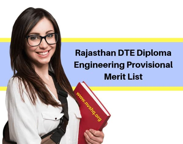 Rajasthan DTE Diploma Engineering Provisional Merit List