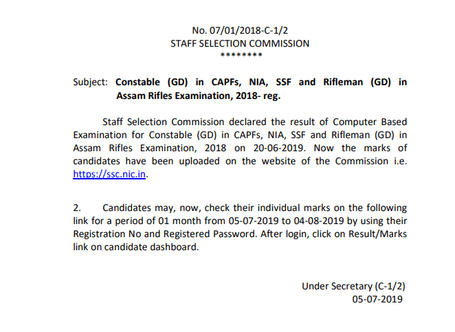 SSC GD Constable Result 2019 Declared Merit List Cutoff