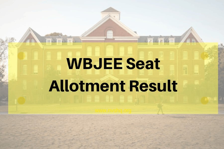 WBJEE 1st Round Seat Allotment Result