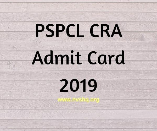 PSPCL CRA Admit Card 2019