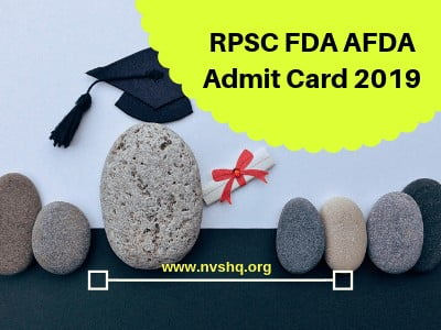 RPSC FDA AFDA Admit Card 2019