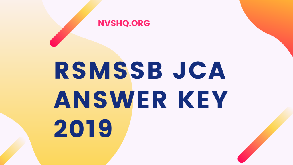 RSMSSB JCA answer key 2019