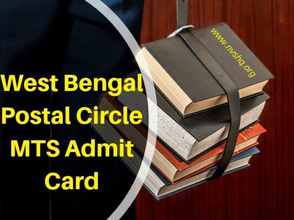 West Bengal Postal Circle MTS Admit Card