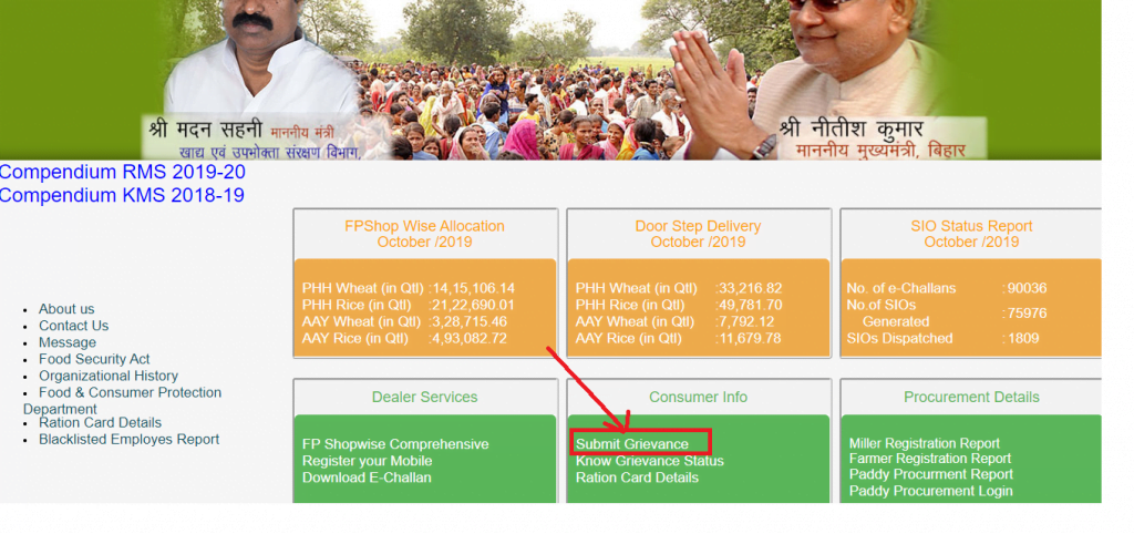 Bihar Ration Card Grievance