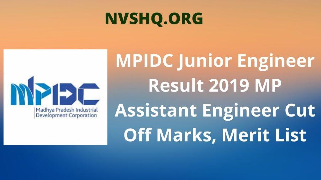 MPIDC Junior Engineer Result 2019