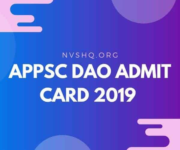 APPSC DAO Admit Card 2019