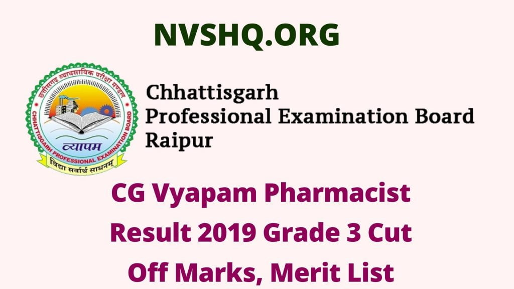 CG Vyapam Pharmacist Result 2019