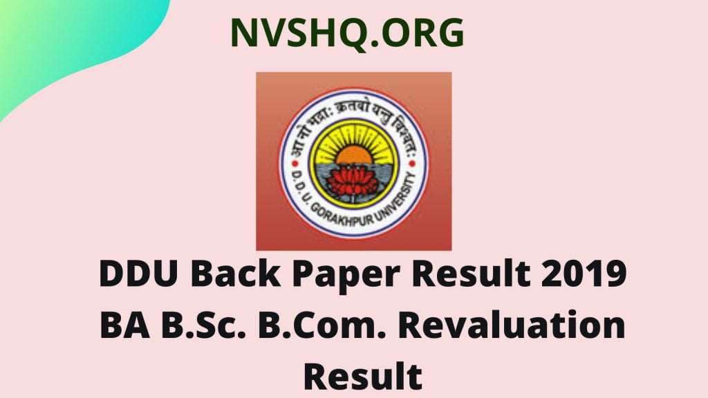 DDU Back Paper Result 2019 BA B.Sc. B.Com. Revaluation Result
