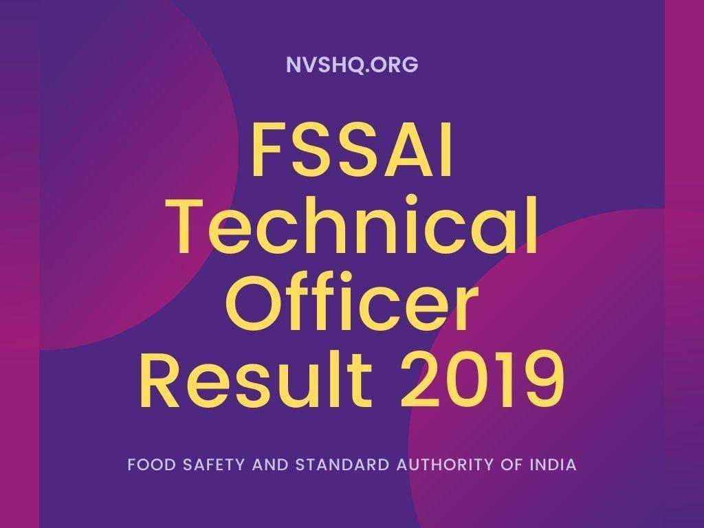 FSSAI Technical Officer Result 2019
