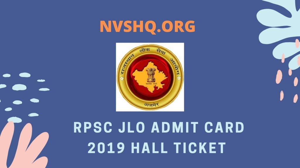 RPSC JLO Admit Card 2019