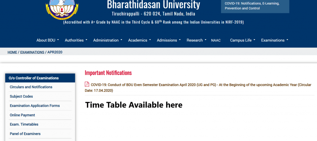 bharathidasan-university-time-table-2020