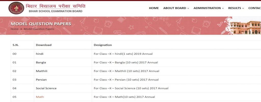 sample paper for Bihar 10th class