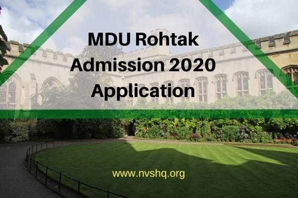 MDU Rohtak Admission 2020