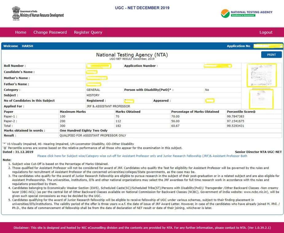 NTA-UGC-NET-Result