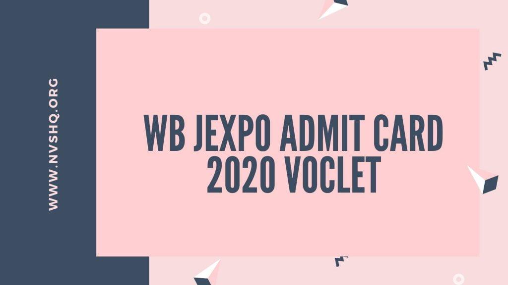 WB JEXPO Admit Card 2020