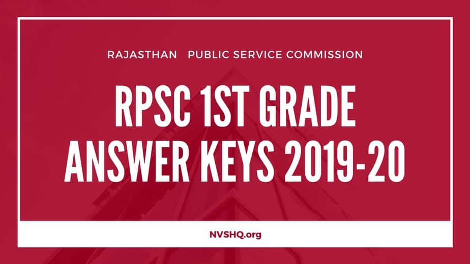 RPSC 1st Grade Answer Keys 2019-20