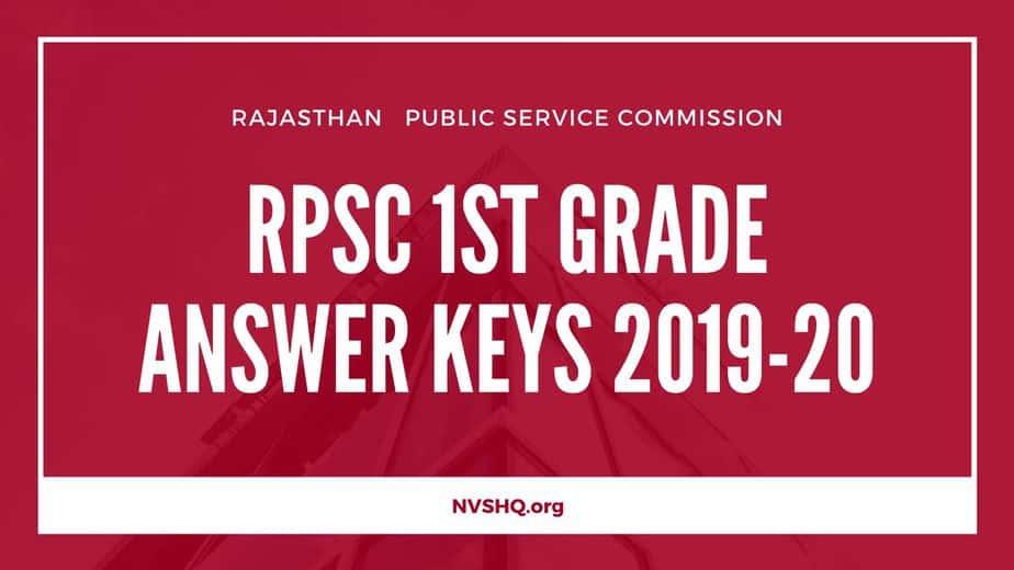 RPSC 1st Grade Answer Keys 2019-20