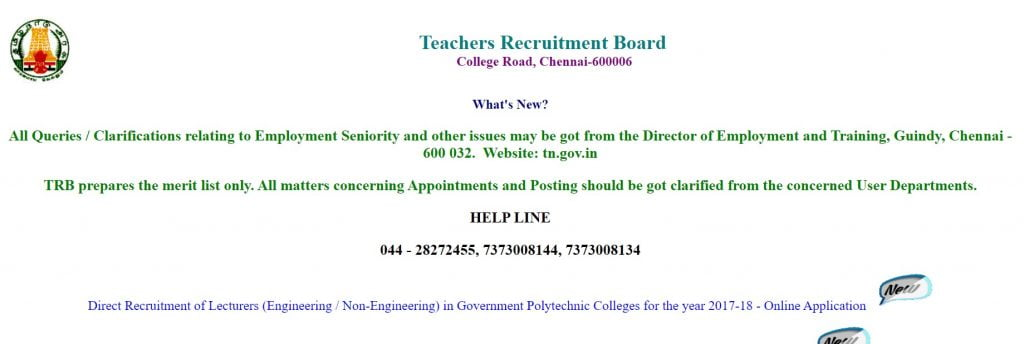 TN_TRB_Polytechnic_Lecturer_Recruitment_online_apply