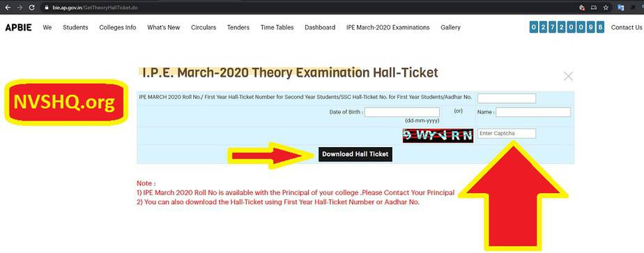 Ap 1st year hall ticket download link