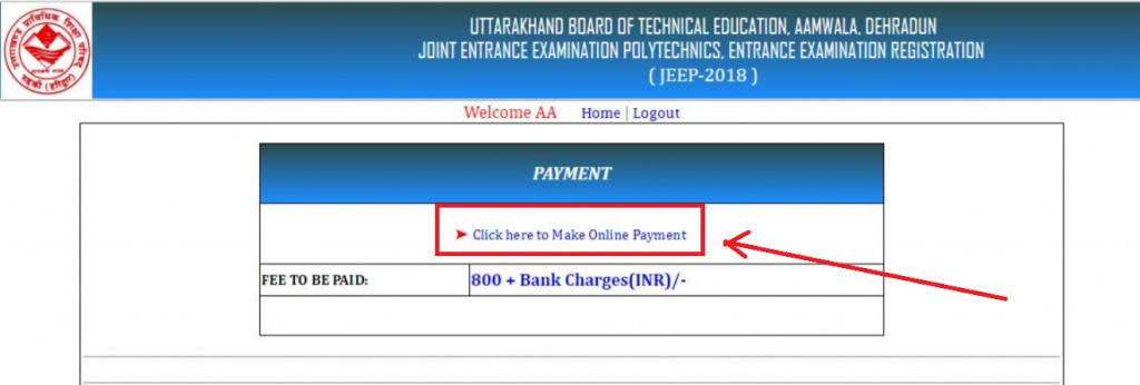 Uttarakhand Polytechnic JEEP payment link