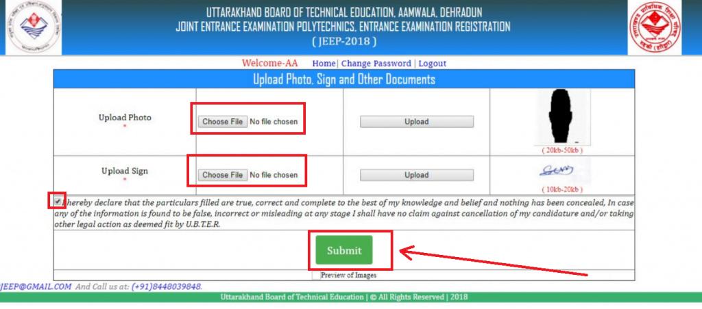 Uttarakhand Polytechnic JEEP application form