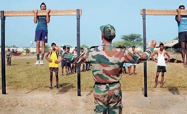 indian army bharti Pull-Ups on Beam