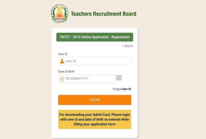 tntrb-TET-admit-card-website