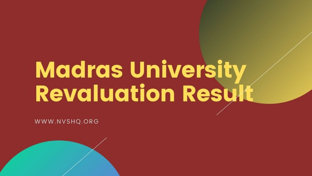 Madras University Revaluation Result
