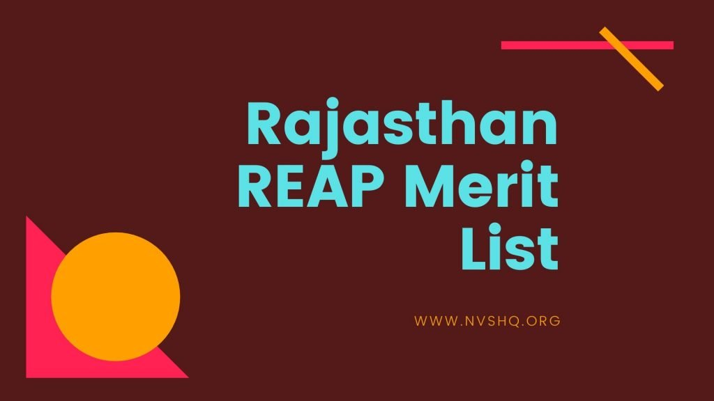 Rajasthan REAP Merit List