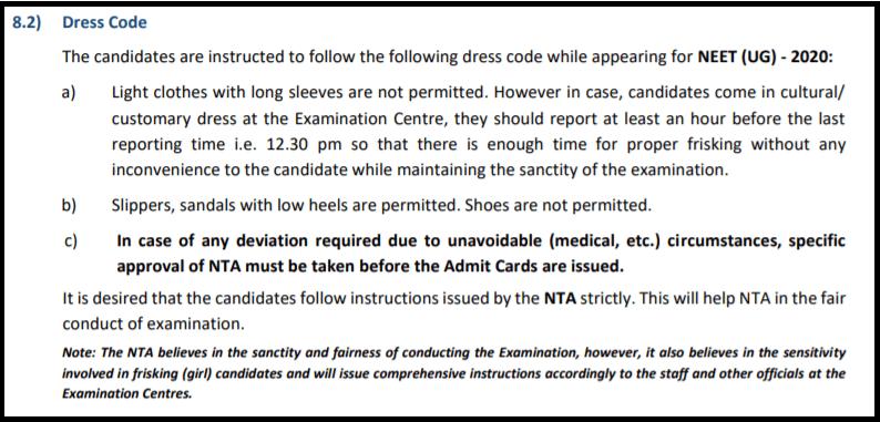NEET-2020-Dress-Code