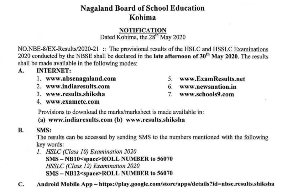 NAGALAND NBSE CLASS 10TH RESULT today